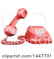Clipart Of A 3d Giant Red Landline Telephone On A White Background Royalty Free Illustration