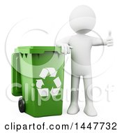 Poster, Art Print Of 3d White Man Giving A Thumb Up And Leaning On A Green Recycle Bin On A White Background