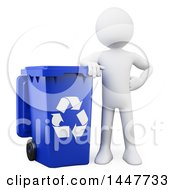 Clipart Of A 3d White Man Leaning On A Blue Recycle Bin On A White Background Royalty Free Illustration