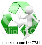 Poster, Art Print Of 3d White Man Giving A Thumb Up And Sitting In Green Recycle Arrows On A White Background