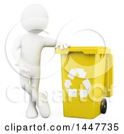 Clipart Of A 3d White Man Leaning On A Yellow Recycle Bin On A White Background Royalty Free Illustration