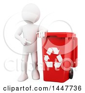 Clipart Of A 3d White Man Pointing To And Leaning On A Red Recycle Bin On A White Background Royalty Free Illustration