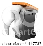 Clipart Of A 3d White Man Hanging Over Inside A Trash Bin On A White Background Royalty Free Illustration