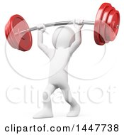 Clipart Of A 3d White Man Lifting A Heavy Barbell Over His Head On A White Background Royalty Free Illustration