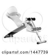 Clipart Of A 3d White Man Doing Situps On A Bench On A White Background Royalty Free Illustration