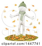 Clipart Of A 3d White Man Surrounding By Falling Autumn Leaves On A White Background Royalty Free Illustration by Texelart