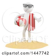 Poster, Art Print Of 3d White Man With A Summer Ball And Towel On A Beach On A White Background