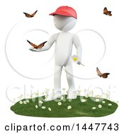 Clipart Of A 3d White Man Holding A Flower And Playing With Butterflies On A Spring Day On A White Background Royalty Free Illustration