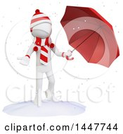 Clipart Of A 3d White Man In Winter Gear Holding An Umbrella And Reaching Out To Catch Snow On A White Background Royalty Free Illustration by Texelart