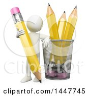 Clipart Of A 3d White Man Leaning On A Cup With Giant Pencils On A White Background Royalty Free Illustration by Texelart