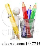 3d White Man Leaning On A Cup With Giant Colored Pencils On A White Background