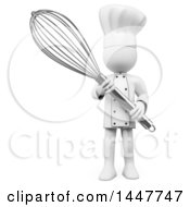 Clipart Of A 3d White Man Chef Holding A Giant Whisk On A White Background Royalty Free Illustration
