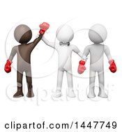Clipart Of A 3d White Man Referee Standing With Two Boxers And Holding Up The Arm Of The Brown Winner On A White Background Royalty Free Illustration
