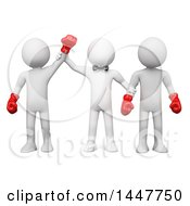 Clipart Of A 3d White Man Referee Standing With Two Boxers And Holding Up The Arm Of The Winner On A White Background Royalty Free Illustration