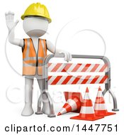 3d White Man Construction Worker Waving Behind A Barrier On A White Background