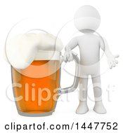 Poster, Art Print Of 3d White Man With A Giant Lager Of Beer On A White Background
