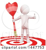 Clipart Of A 3d White Man Giving A Thumb Up And Standing With A Dart On A Bullseye Target On A White Background Royalty Free Illustration