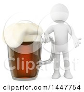 Poster, Art Print Of 3d White Man With A Giant Dark Beer Mug On A White Background