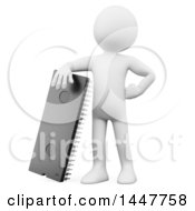 Clipart Of A 3d White Man With A Microchip On A White Background Royalty Free Illustration