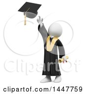 Poster, Art Print Of 3d White Man Graduate Tossing His Cap On A White Background