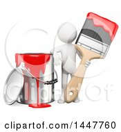 Clipart Of A 3d White Man House Painter With A Giant Bucket Of Red Paint And A Brush On A White Background Royalty Free Illustration