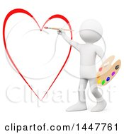 Poster, Art Print Of 3d White Man Artist Painting A Big Red Love Heart On A White Background