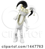 Clipart Of A 3d White Man In A Carnival Mask And Aht On A White Background Royalty Free Illustration