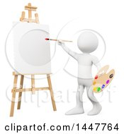Poster, Art Print Of 3d White Man Artist Ready To Paint A Canvas On An Easel On A White Background