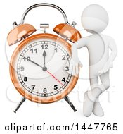 Clipart Of A 3d White Man Presenting And Leaning On A Giant Alarm Clock On A White Background Royalty Free Illustration