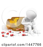 Clipart Of A 3d White Man Crying In Front Of A Giant Bottle Of Pills On A White Background Royalty Free Illustration