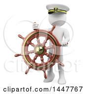 Clipart Of A 3d White Man Captain With A Helm Steering Wheel On A White Background Royalty Free Illustration