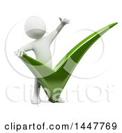 3d White Man Giving A Thumb Up Over A Giant Check Mark On A White Background