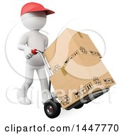 Clipart Of A 3d White Man Over Or Delivery Guy Pushing Boxes On A Dolly On A White Background Royalty Free Illustration by Texelart