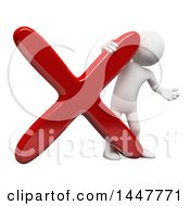 Clipart Of A 3d White Man Presenting By A Giant X Declined Mark On A White Background Royalty Free Illustration by Texelart