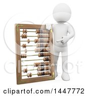 3d White Man Pointing To And Leaning On A Giant Abacus On A White Background
