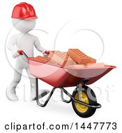 3d White Man Mason Worker Pushing Bricks In A Wheelbarrow On A White Background