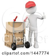 Clipart Of A 3d White Man Over Or Delivery Guy Giving A Thumb Up By Boxes On A Dolly On A White Background Royalty Free Illustration by Texelart