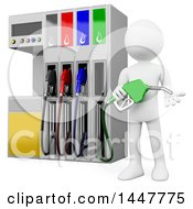 Clipart Of A 3d White Man Woker At A Gas Station Pump On A White Background Royalty Free Illustration