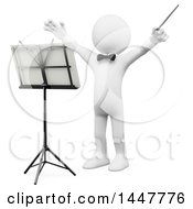 Poster, Art Print Of 3d White Man Orchestra Conductor Holding His Arms Up On A White Background