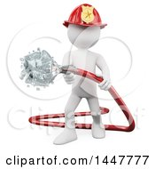 Clipart Of A 3d White Firefighter Man Putting Out A Fire With A Hose On A White Background Royalty Free Illustration