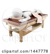 Clipart Of A 3d White Person On A Hot Stone Massage Table On A White Background Royalty Free Illustration