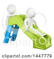 Clipart Of 3d White Kids Playing On A Slide On A White Background Royalty Free Illustration