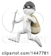 Clipart Of A 3d White Man Robber Running With A Crow Bar And Bag On A White Background Royalty Free Illustration