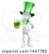 Clipart Of A 3d White St Patricks Day Leprechaun Holding A Green Beer On A White Background Royalty Free Illustration