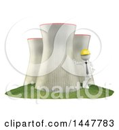 Clipart Of A 3d White Man Technician Leaning Against A Nuclear Power Station On A White Background Royalty Free Illustration