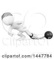 Clipart Of A 3d White Man Prisoner Dragging A Ball And Chain On A White Background Royalty Free Illustration