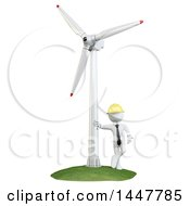 Poster, Art Print Of 3d White Man Technician Leaning Against A Wind Turbine On A White Background