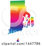 Clipart Of A Gradient Rainbow Map Of Rhode Island United States Of America Royalty Free Vector Illustration by Jamers