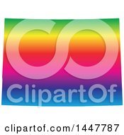 Clipart Of A Gradient Rainbow Map Of Colorado United States Of America Royalty Free Vector Illustration