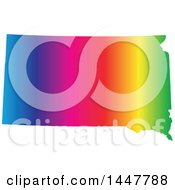 Clipart Of A Gradient Rainbow Map Of South Dakota United States Of America Royalty Free Vector Illustration